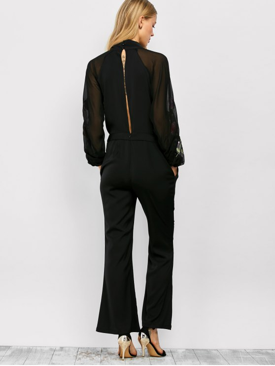 Embriodered Flare Leg Pussy Bow Jumpsuit - BLACK M Mobile