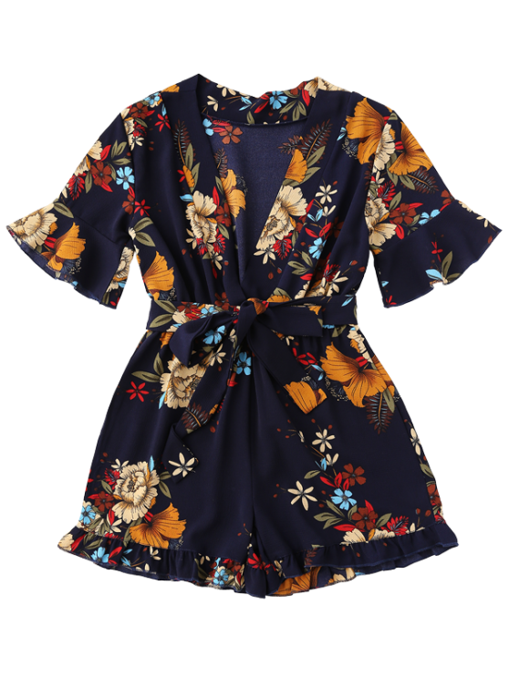 Bell Sleeve Floral Plunging Neck Romper - PURPLISH BLUE M Mobile