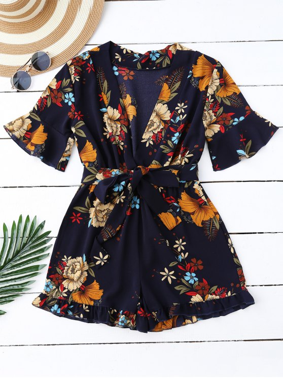best Bell Sleeve Floral Plunging Neck Romper - PURPLISH BLUE XL