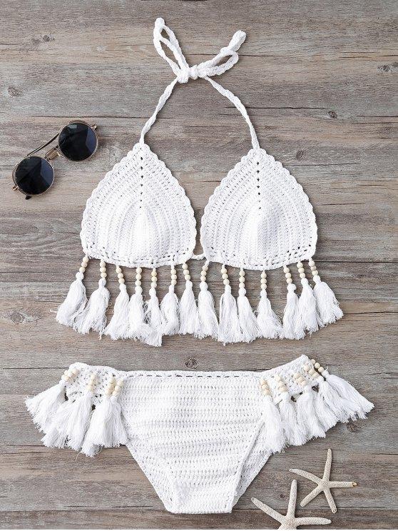 lady Beads Tassels Crochet Bikini Swimwear - WHITE ONE SIZE(FIT SIZE XS TO M)