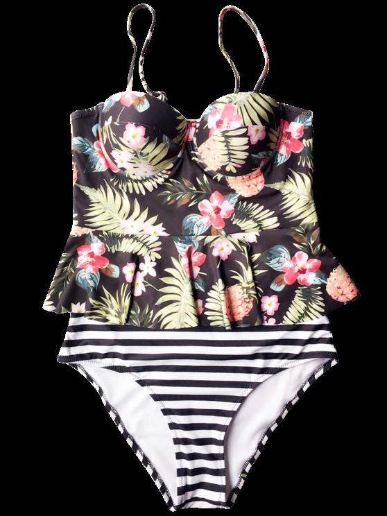 Tropical Push Up Underwire Tankini Swimsuit - BLACK L Mobile