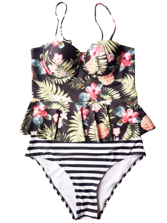 Tropical Push Up Underwire Tankini Swimsuit - BLACK S Mobile