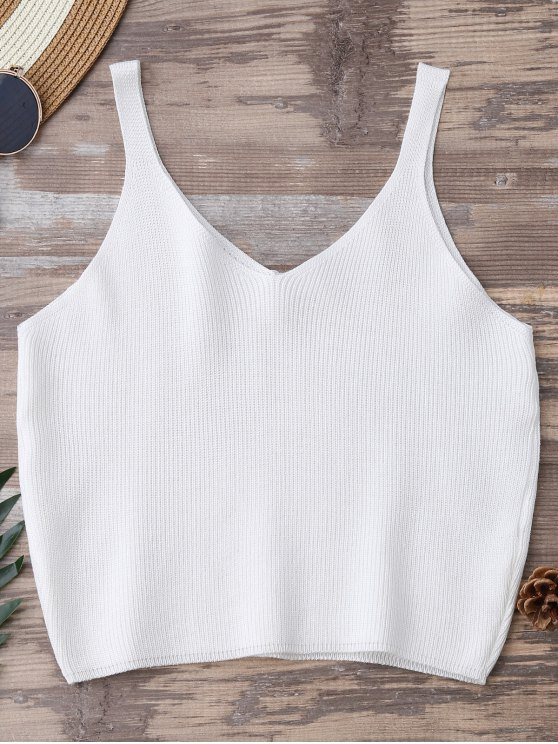 unique Knitting Cropped Tank Top - WHITE