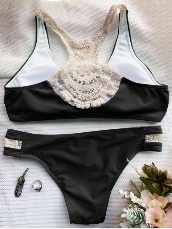 Crochet Panel Racerback Bikini - BLACK L Mobile