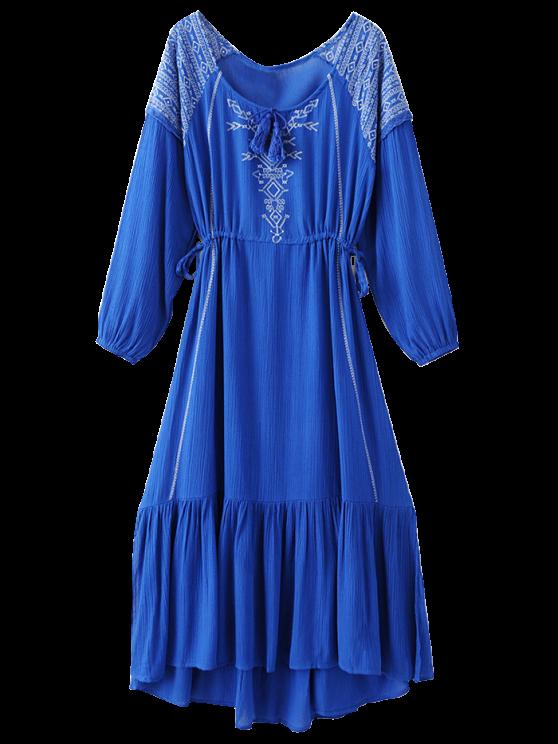 lady Bohemian Drawstring Embroidered Maxi Dress - BLUE M