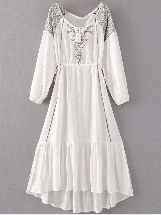 البوهيمي الرباط مطرز فستان ماكسي - أبيض M
