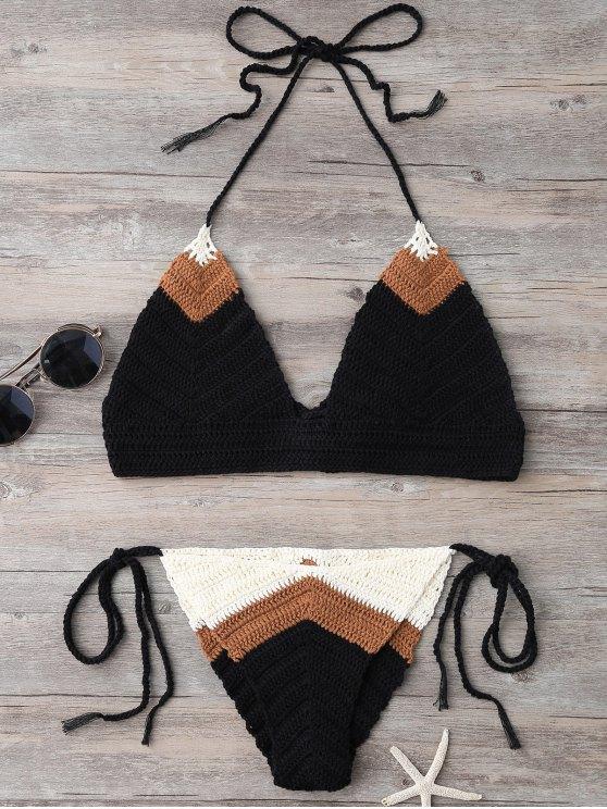 La secuencia del hecho punto del bikini - Negro Única Talla