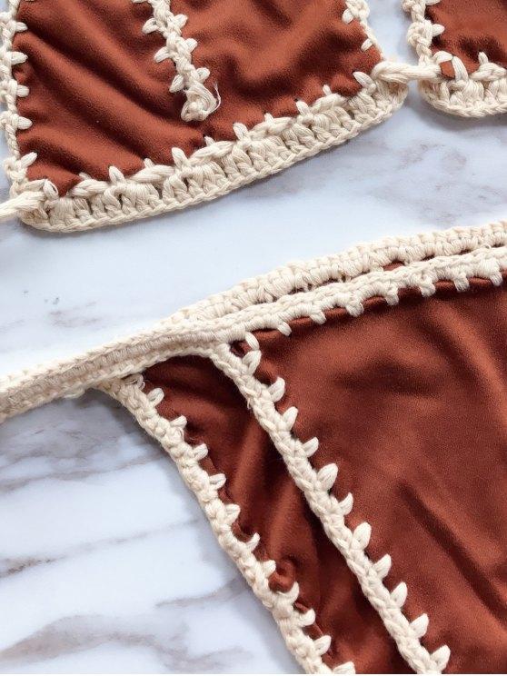 High Leg Knitting Panel Bikini Set - DARK KHAKI ONE SIZE Mobile