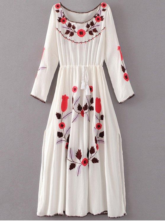 fashion Floral Embroidered Long Sleeve Slit Vintage Dress - WHITE S