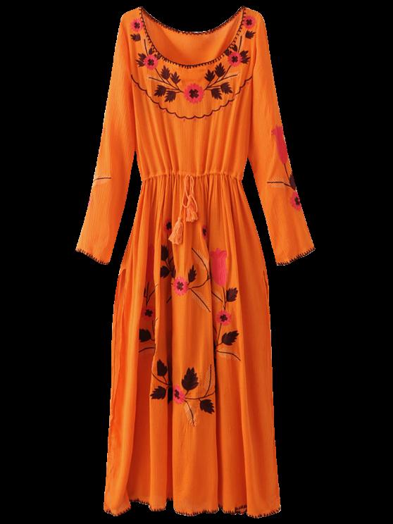 affordable Floral Embroidered Long Sleeve Slit Vintage Dress - ORANGEPINK L