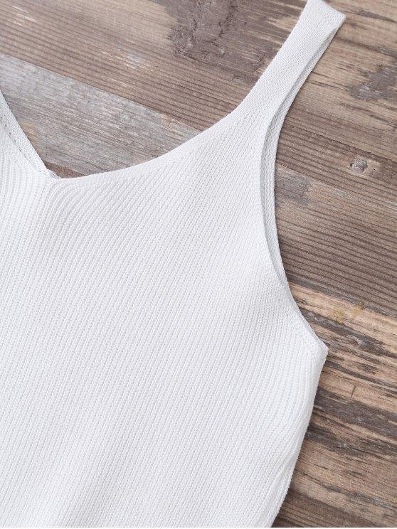 Knitting Cropped Tank Top - WHITE  Mobile