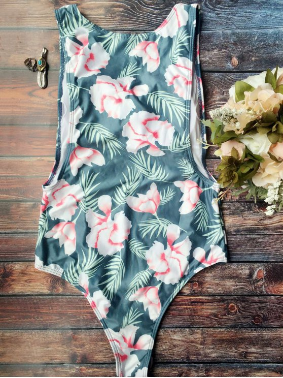 unique High Cut Tropical Print Swimwear - BLUE M