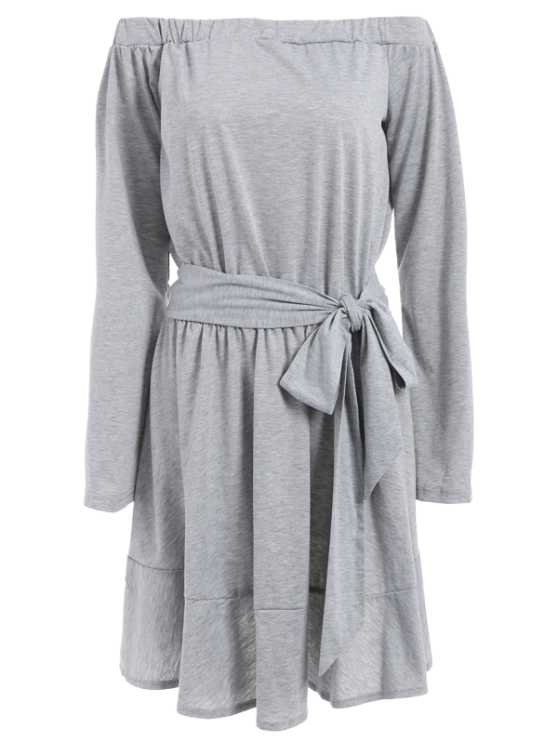 Off The Shoulder Flare Sleeve Dress - LIGHT GRAY S Mobile