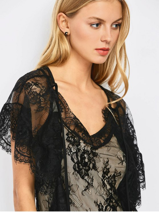 Flounced See-Through Lace Dress - BLACK M Mobile