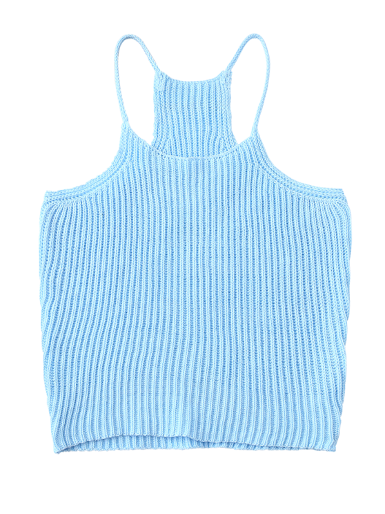 Knitted Cropped Cami Top - LAKE BLUE ONE SIZE Mobile