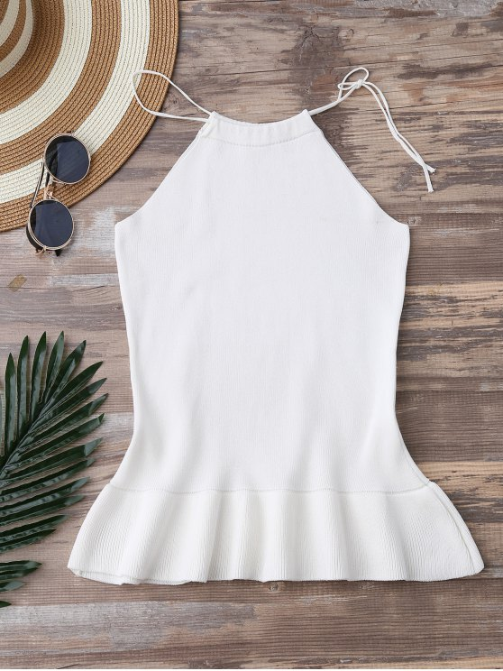 High Neck Ruffle Hem Knitted Tank Top - WHITE ONE SIZE Mobile