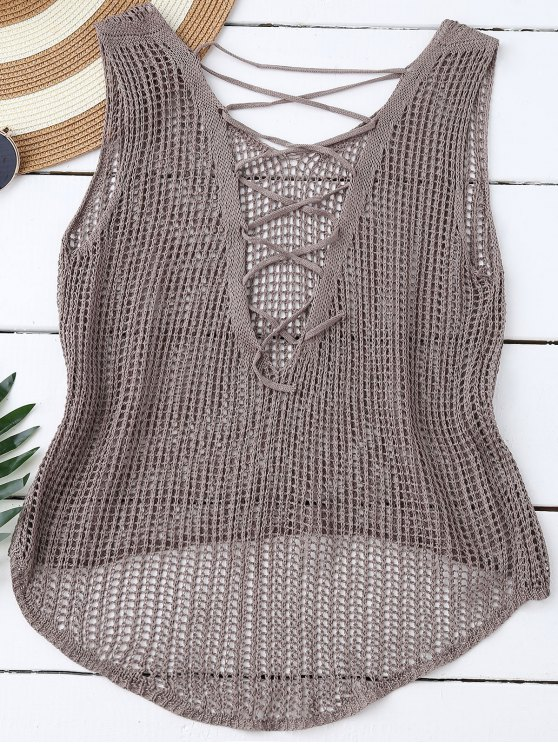 High Low Lace Up Crochet Top - OLIVE GREY ONE SIZE Mobile