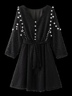 Mini Beaded Lace Dress - Black M