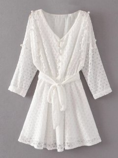 Mini Beaded Lace Dress - White L