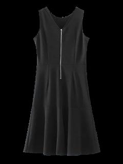 Peplum Hem Sleeveless Sheath Dress - Black S