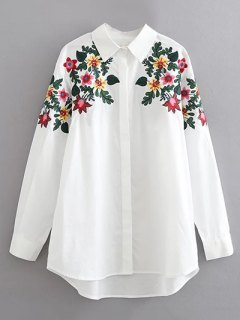 Floral Embroidered Cotton Collared Shirt - White M