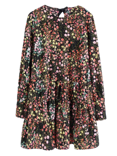 Long Sleeves Tiny Floral Print Romper - Black M