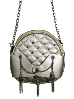 Chains Tassel Quilted Crossbody Bag - Silver Gray