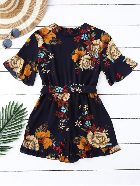 women's Bell Sleeve Floral Plunging Neck Romper - PURPLISH BLUE S Mobile