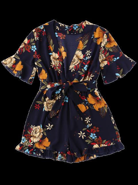 ladies Bell Sleeve Floral Plunging Neck Romper - PURPLISH BLUE M Mobile