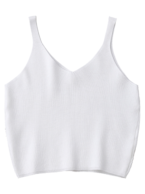 unique Knitting Cropped Tank Top - WHITE  Mobile