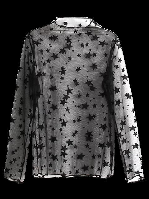Blouse see-through imprimée d'étoiles - Noir TAILLE MOYENNE Mobile