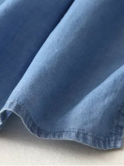 Chemise asymétrique en denim floral - Bleu clair S Mobile