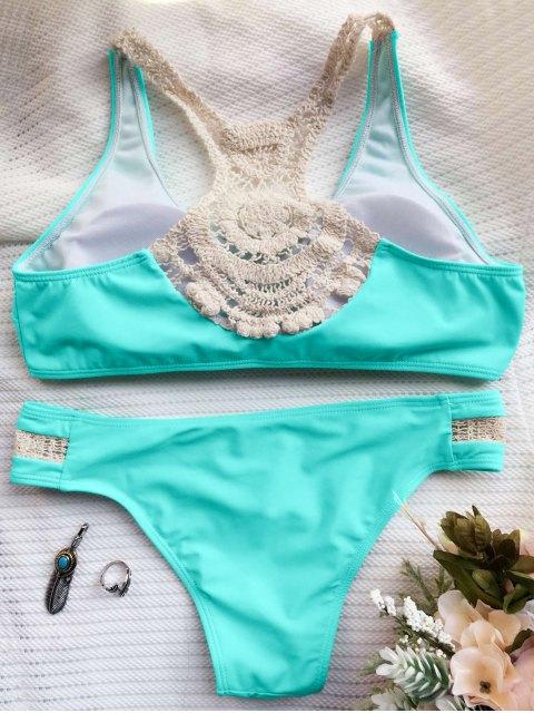 latest Crochet Panel Racerback Bikini - GREEN M Mobile
