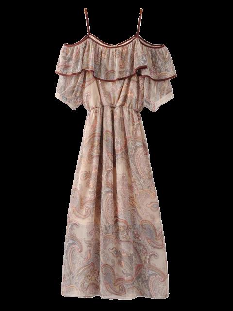 online Frilly Cold Shoulder Chiffon Dress - BEIGE M Mobile