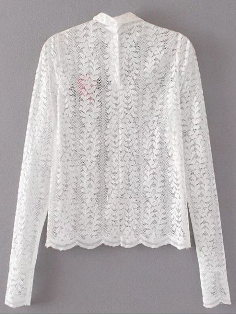 Haut floral en dentelle brodée - Blanc S Mobile