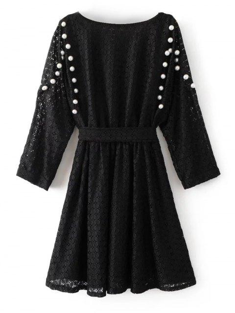 new Mini Beaded Lace Dress - BLACK M Mobile