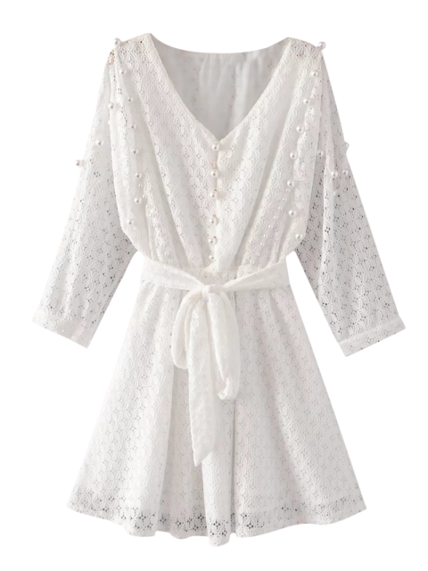 outfits Mini Beaded Lace Dress - WHITE M Mobile