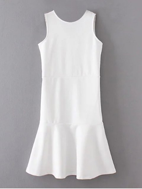 womens Peplum Hem Sleeveless Sheath Dress - WHITE M Mobile
