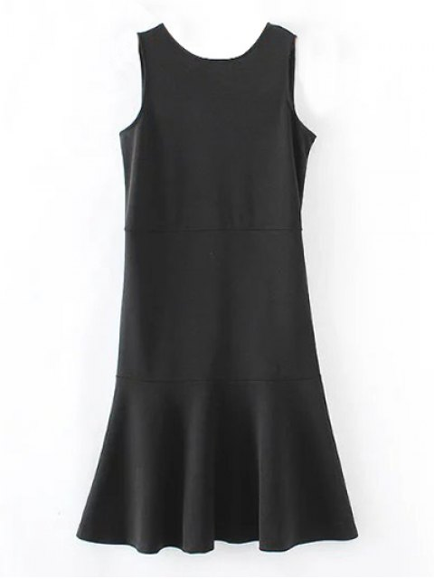 affordable Peplum Hem Sleeveless Sheath Dress - BLACK S Mobile