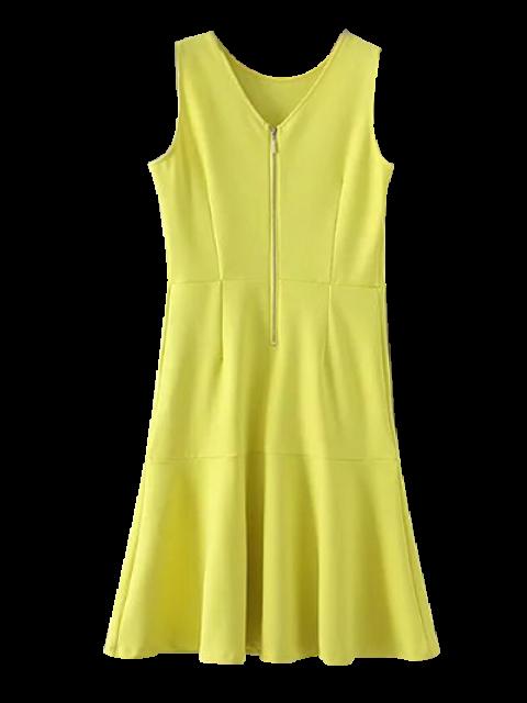 lady Peplum Hem Sleeveless Sheath Dress - YELLOW S Mobile