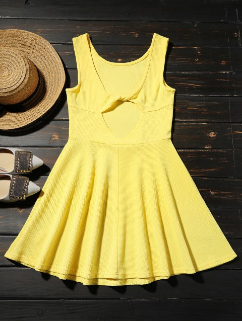 outfits Cut Out Fit and Flare Tank Dress - YELLOW S Mobile
