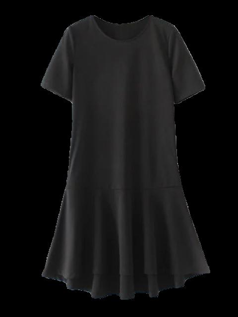 Robe droite avec ourlets à volants - Noir S Mobile