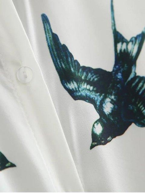 Chemise décontractée à motifs d'hirondelles - Blanc S Mobile