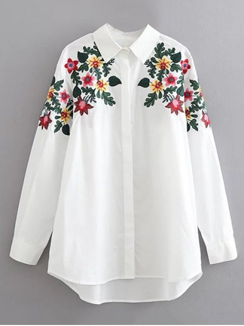 trendy Floral Embroidered Cotton Collared Shirt - WHITE M Mobile