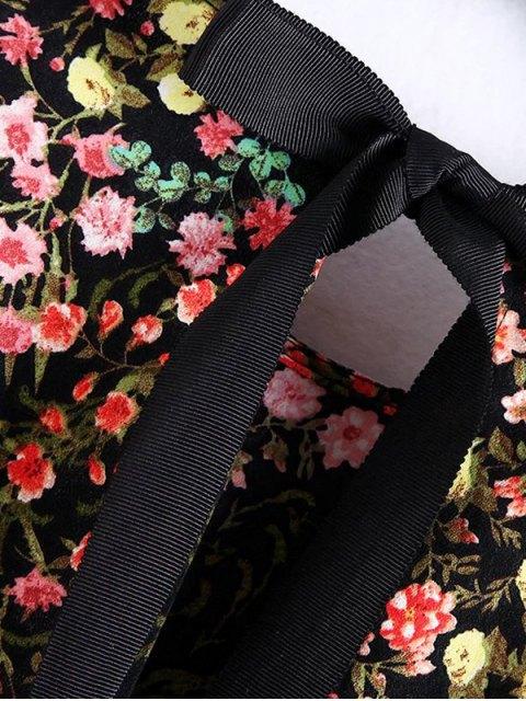 online Long Sleeves Tiny Floral Print Romper - BLACK S Mobile