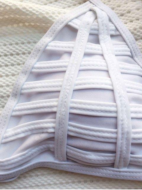 sale Cutout String Bikini Set - WHITE S Mobile