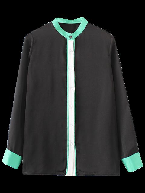 Chemise en couleurs de blocage à col mandarin - Noir S Mobile