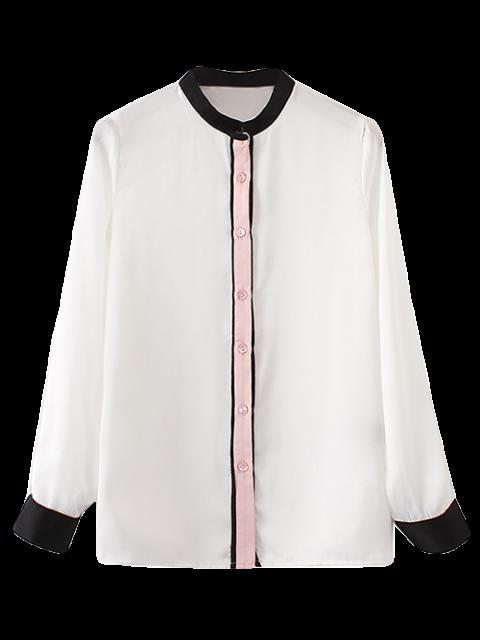 Chemise en couleurs de blocage à col mandarin - Blanc S Mobile