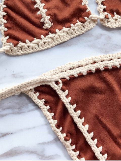lady High Leg Knitting Panel Bikini Set - DARK KHAKI ONE SIZE Mobile