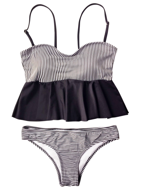 women's Cami Striped Peplum Tankini - WHITE AND BLACK L Mobile